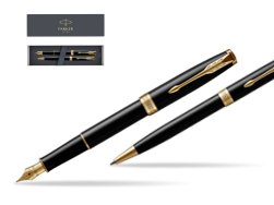 Parker Sonnet Black Lacquer GT Fountain Pen + Ballpoint Pen in a Gift Box