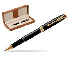 Parker Sonnet Black Lacquer GT Rollerball Pen  in classic box brown