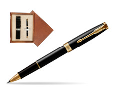 Parker Sonnet Black Lacquer GT Rollerball Pen  single wooden box  Mahogany Single Ecru