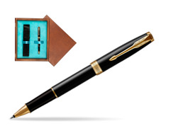 Parker Sonnet Black Lacquer GT Rollerball Pen  single wooden box  Mahogany Single Turquoise