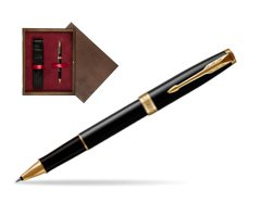 Parker Sonnet Black Lacquer GT Rollerball Pen  single wooden box  Wenge Single Maroon