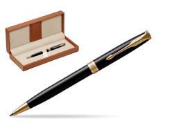 Parker Sonnet Black Lacquer GT Ballpoint Pen  in classic box brown