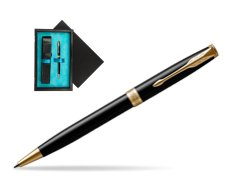 Parker Sonnet Black Lacquer GT Ballpoint Pen  single wooden box  Black Single Turquoise