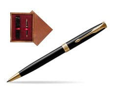 Parker Sonnet Black Lacquer GT Ballpoint Pen  single wooden box Mahogany Single Maroon