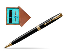 Parker Sonnet Black Lacquer GT Ballpoint Pen  single wooden box  Mahogany Single Turquoise