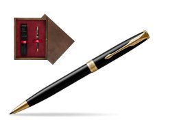 Parker Sonnet Black Lacquer GT Ballpoint Pen  single wooden box  Wenge Single Maroon