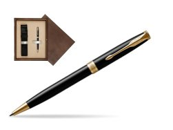 Parker Sonnet Black Lacquer GT Ballpoint Pen  single wooden box  Wenge Single Ecru