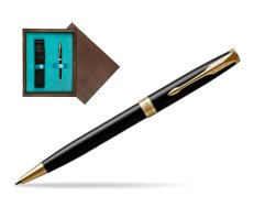 Parker Sonnet Black Lacquer GT Ballpoint Pen  single wooden box  Wenge Single Turquoise