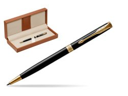 Parker Sonnet Black Lacquer Slim GT Ballpoint Pen  in classic box brown