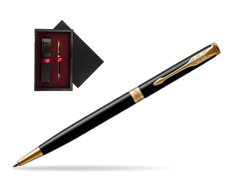 Parker Sonnet Black Lacquer Slim GT Ballpoint Pen  single wooden box  Black Single Maroon