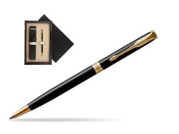 Parker Sonnet Black Lacquer Slim GT Ballpoint Pen  single wooden box  Wenge Single Ecru