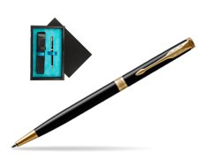 Parker Sonnet Black Lacquer Slim GT Ballpoint Pen  single wooden box  Black Single Turquoise
