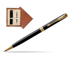 Parker Sonnet Black Lacquer Slim GT Ballpoint Pen  single wooden box  Mahogany Single Ecru