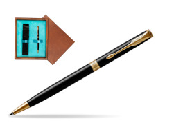 Parker Sonnet Black Lacquer Slim GT Ballpoint Pen  single wooden box  Mahogany Single Turquoise