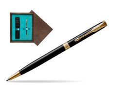 Parker Sonnet Black Lacquer Slim GT Ballpoint Pen  single wooden box  Wenge Single Turquoise