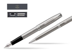 Parker Sonnet Stainless Steel CT Fountain Pen + Ballpoint Pen in a Gift Box