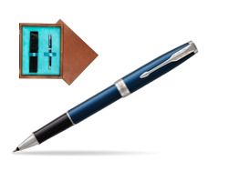 Parker Sonnet Subtle Blue CT Rollerball Pen in single wooden box  Mahogany Single Turquoise