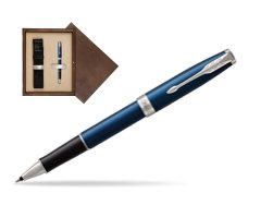 Parker Sonnet Subtle Blue CT Rollerball Pen in single wooden box  Wenge Single Ecru