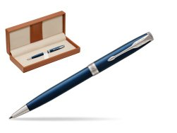 Parker Sonnet Subtle Blue CT Ballpoint Pen  in classic box brown