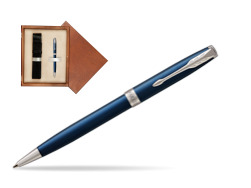 Parker Sonnet Subtle Blue CT Ballpoint Pen  single wooden box  Mahogany Single Ecru