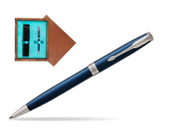 Parker Sonnet Subtle Blue CT Ballpoint Pen  single wooden box  Mahogany Single Turquoise