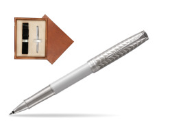 Parker Sonnet Metal & Pearl Lacquer CT Rollerball Pen  single wooden box  Mahogany Single Ecru