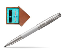Parker Sonnet Metal & Pearl Lacquer CT Rollerball Pen  single wooden box  Mahogany Single Turquoise