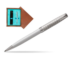 Parker Sonnet Metal & Pearl Lacquer CT Ballpoint Pen  single wooden box  Mahogany Single Turquoise