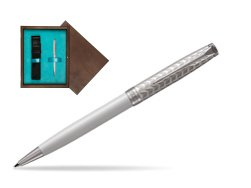 Parker Sonnet Metal & Pearl Lacquer CT Ballpoint Pen  single wooden box  Wenge Single Turquoise