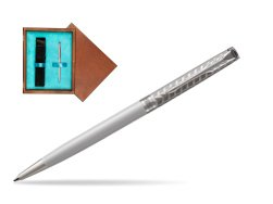 Parker Sonnet Metal & Pearl Lacquer Slim CT Ballpoint Pen  single wooden box  Mahogany Single Turquoise