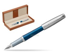Parker Urban Premium Dark Blue CT Fountain Pen  in classic box brown