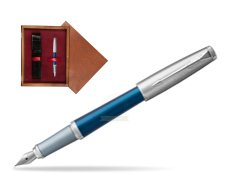 Parker Urban Premium Dark Blue CT Fountain Pen in single wooden box Mahogany Single Maroon