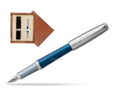 Parker Urban Premium Dark Blue CT Fountain Pen  single wooden box  Mahogany Single Ecru