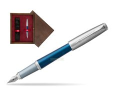Parker Urban Premium Dark Blue CT Fountain Pen in single wooden box  Wenge Single Maroon