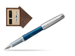 Parker Urban Premium Dark Blue CT Fountain Pen in single wooden box  Wenge Single Ecru