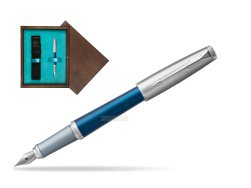Parker Urban Premium Dark Blue CT Fountain Pen in single wooden box  Wenge Single Turquoise