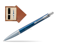 Parker Urban Premium Dark Blue CT Ballpoint Pen in single wooden box  Mahogany Single Ecru