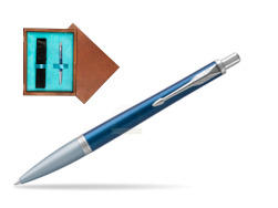 Parker Urban Premium Dark Blue CT Ballpoint Pen in single wooden box  Mahogany Single Turquoise