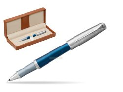 Parker Urban Premium Dark Blue CT Rollerball Pen  in classic box brown