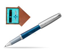 Parker Urban Premium Dark Blue CT Rollerball Pen in single wooden box  Mahogany Single Turquoise