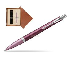 Parker Urban Premium Dark Purple CT Ballpoint Pen  single wooden box  Mahogany Single Ecru