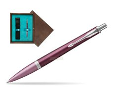 Parker Urban Premium Dark Purple CT Ballpoint Pen  single wooden box  Wenge Single Turquoise