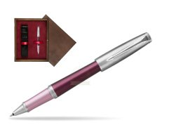 Parker Urban Premium Dark Purple CT Rollerball Pen  single wooden box  Wenge Single Maroon