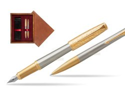 Parker Urban Premium Aureate Powder GT Fountain Pen + Ballpoint Pen in a Gift Box in double wooden box Mahogany Double Maroon