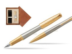 Parker Urban Premium Aureate Powder GT Fountain Pen + Ballpoint Pen in a Gift Box  double wooden box Mahogany Double Ecru