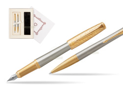 "Parker Urban Premium Aureate Powder GT Fountain Pen + Ballpoint Pen in a Gift Box  ""Pure Love"""