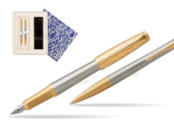 Parker Urban Premium Aureate Powder GT Fountain Pen + Ballpoint Pen in a Gift Box  Universal Crystal Blue