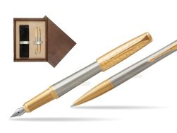 Parker Urban Premium Aureate Powder GT Fountain Pen + Ballpoint Pen in a Gift Box  double wooden box Wenge Double Ecru