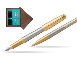 Parker Urban Premium Aureate Powder GT Fountain Pen + Ballpoint Pen in a Gift Box  double wooden box Wenge Double Turquoise
