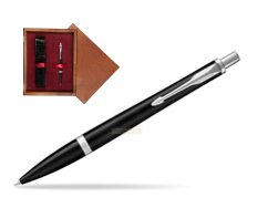 Parker Urban Muted Black CT Ballpoint Pen in single wooden box Mahogany Single Maroon